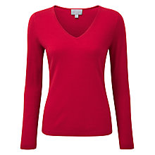 Buy Pure Collection Kendall V Neck Jumper, Pillarbox Red Online at johnlewis.com