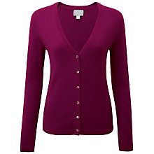 Buy Pure Collection Josie V Neck Cashmere Cardigan, Rich Berry Online at johnlewis.com