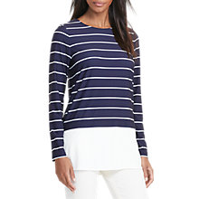 Buy Lauren Ralph Lauren Open Crew Neck Top, Navy/Antique Ivory Online at johnlewis.com