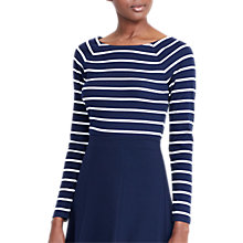 Buy Lauren Ralph Lauren Taddia Ballet Neck Stripe Top, Navy/Antique Ivory Online at johnlewis.com