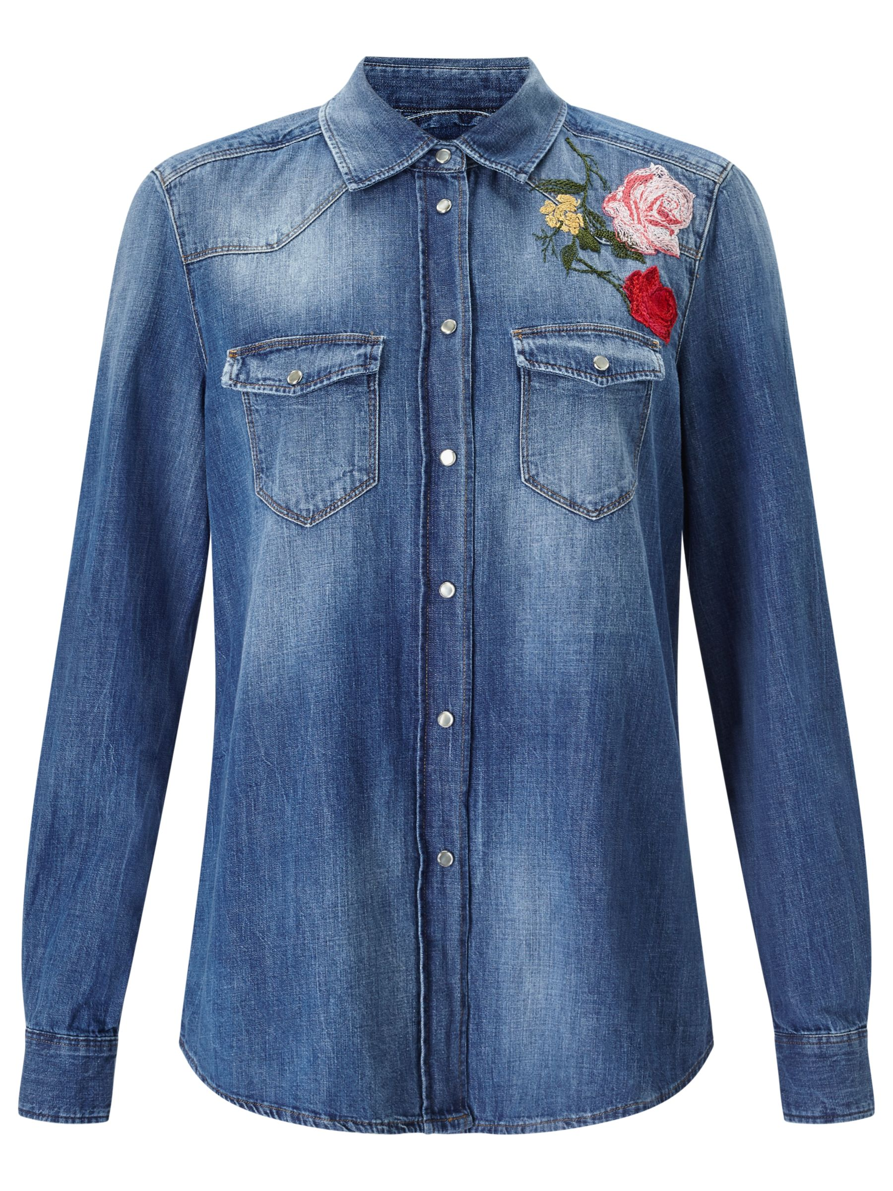 7 For All Mankind 7 For All Mankind Embroidered Flower Shirt, Multi