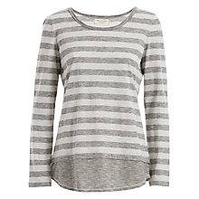 Buy Max Studio Long Sleeve Stripe Jersey Top, Charcoal/Light Grey Online at johnlewis.com