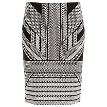 Buy Max Studio Printed Ponte Skirt, Black/Ivory Online at johnlewis.com
