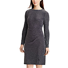 Buy Lauren Ralph Lauren Metallic Jersey Dress, Navy/Silver Online at johnlewis.com