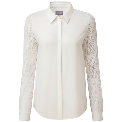 1940s Blouses and Tops Pure Collection Miriam Lace Sleeve Silk Blouse Ivory £71.00 AT vintagedancer.com