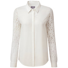 Buy Pure Collection Miriam Lace Sleeve Silk Blouse, Ivory Online at johnlewis.com