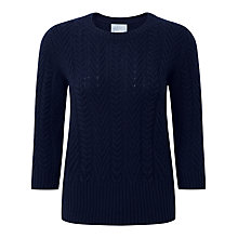 Buy Pure Collection Juliet Lofty Cable Jumper, Navy Online at johnlewis.com
