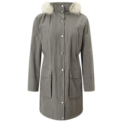 Four Seasons Borg Lined Parka, Slate