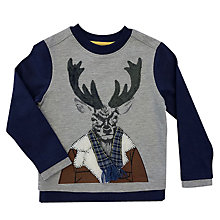 Buy Angel & Rocket Boys' Long Sleeve Stag T-Shirt, Grey Online at johnlewis.com