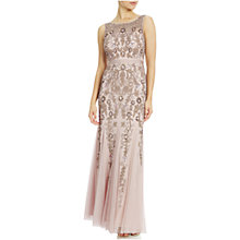 Buy Adrianna Papell Petite Sleeveless Illusion Yoke Gown, Icy Lilac Online at johnlewis.com