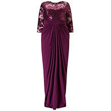 Buy Adrianna Papell Plus Size Sequin Illusion Top Dress With Drape Skirt, Mulberry Online at johnlewis.com