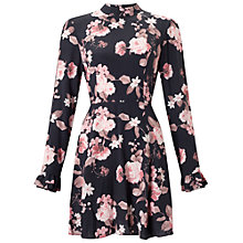 Buy Miss Selfridge Petite Rose Print Dress, Black Online at johnlewis.com
