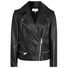 Buy Reiss Leather Frith Quilted Biker Jacket, Black Online at johnlewis.com