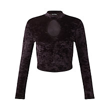 Buy Miss Selfridge Petite Velvet Long Sleeve Top, Black Online at johnlewis.com