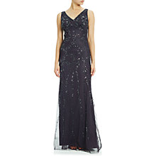 Buy Adrianna Papell Sleeveless Beaded Gown, Gunmetal Online at johnlewis.com