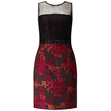 Buy Adrianna Papell Lace Top Embellished Jacquard Sheath Dress, Black/Red Online at johnlewis.com