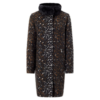 Four Seasons Animal Print Coat, Black/Brown