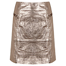 Buy Mint Velvet Metallic Leather Zip Skirt, Metallic Online at johnlewis.com