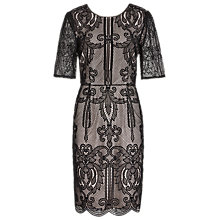 Buy Reiss Zola Lace Fitted Dress, Black/Almond Online at johnlewis.com
