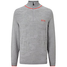 Buy BOSS Green Pro Golf Zayo Zip Neck Jumper, Light Pastel Grey Online at johnlewis.com