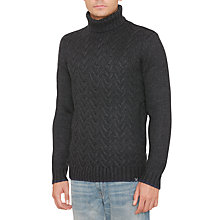 Buy Original Penguin Plait Stitch Turtle Neck Jumper, Dark Charcoal Heather Online at johnlewis.com