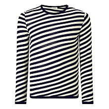 Buy J. Lindeberg Camden Merino Wool Stripe Jumper, Navy/White Online at johnlewis.com