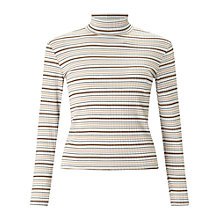 Buy Miss Selfridge Petite Camel Stripe Roll Neck Top, Camel Online at johnlewis.com