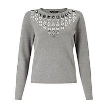 Buy Miss Selfridge Necklace Embellished Jumper, Grey Online at johnlewis.com