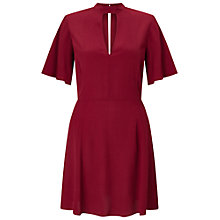 Buy Miss Selfridge Tea Dress, Burgundy Online at johnlewis.com