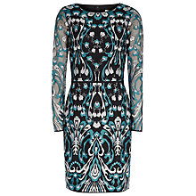Buy Reiss Alianna Graphic Lace Dress, Emerald Sea/Black Online at johnlewis.com