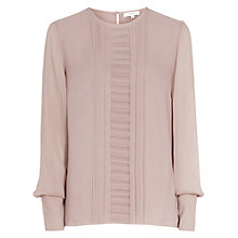 Buy Reiss Alba Pleat Front Silk Blouse, Rose Pink Online at johnlewis.com