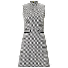 Buy Miss Selfridge Petite Monochrome Jacquard Dress, Black/White Online at johnlewis.com