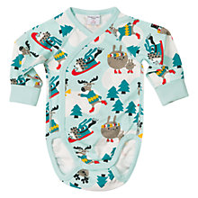 Buy Polarn O. Pyret Baby Ski Animals Bodysuit, Pastel Turquoise Online at johnlewis.com