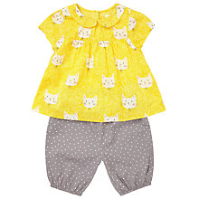 Buy John Lewis Baby Cat Print Blouse and Shorts Set, Yellow Online at johnlewis.com