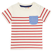 Buy John Lewis Baby Stripe Pocket Jersey T-Shirt, Red/White Online at johnlewis.com