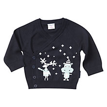 Buy Polarn O. Pyret Baby Animal Unisex Cardigan, Blue/White Online at johnlewis.com