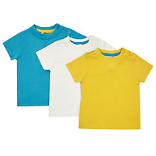 Buy John Lewis Baby Short Sleeve Jersey Cotton T-Shirt, Pack of 3, Multi Online at johnlewis.com