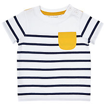 Buy John Lewis Baby Stripe Pocket Cotton T-Shirt, White/Multi Online at johnlewis.com