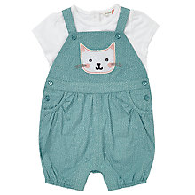Buy John Lewis Baby Cat Applique Dungaree and T-Shirt Set, Blue/White Online at johnlewis.com