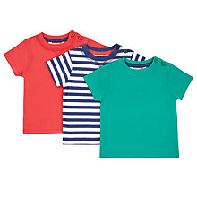 Buy John Lewis Baby Short Sleeve Jersey T-Shirt, Pack of 3, Assorted Online at johnlewis.com