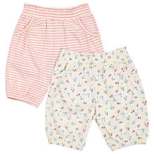 Buy John Lewis Baby Floral and Stripe Jersey Shorts, Pack of 2, Multi Online at johnlewis.com