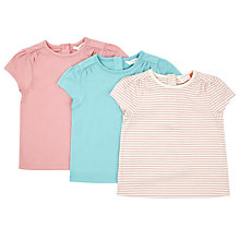 Buy John Lewis Baby Cap Sleeve T-Shirt, Pack of 3, Assorted Online at johnlewis.com