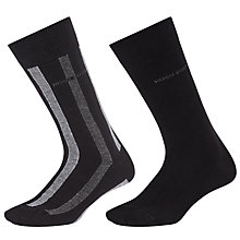 Buy BOSS RS Design Stripe and Plain Socks, Pack of 2, Black/Grey Online at johnlewis.com