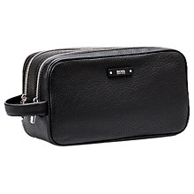 Buy BOSS Traveller Leather Wash Bag, Black Online at johnlewis.com