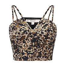 Buy Miss Selfridge Petite Animal Jacquard Top, Mid Brown Online at johnlewis.com