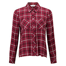 Buy Miss Selfridge Petite Check Shirt, Burgundy Online at johnlewis.com