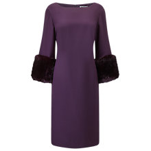 Buy Jacques Vert Fur Cuff Detail Dress, Dark Purple Online at johnlewis.com