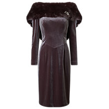 Buy Jacques Vert Faux Fur Detail Dress, Mid Brown Online at johnlewis.com
