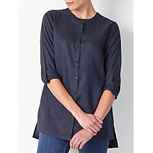 Buy John Lewis Linen Collarless Shirt, Navy Online at johnlewis.com