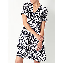 Buy John Lewis Smudge Floral Print Linen V-Neck Dress, White/Blue Online at johnlewis.com